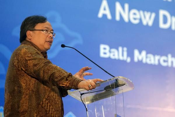 Menteri PPN/Kepala Bappenas Bambang P.S Brodjonegoro menyampaikan materinya pada seminar internasional tentang sumber daya manusia penggerak perekonomian di Kuta, Bali, Kamis (1/3/2018). - ANTARA/Nyoman Budhiana