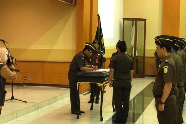Jaksa Agung H.M. Prasetyo saat pelantikan Satgassus P3TPK, Rabu (8/8/2018). - Bisnis/Sholahuddin Al Ayubbi