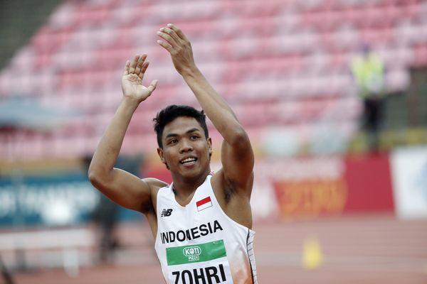 Lalu Muhammad Zohri saat menjadi juara nomor lari 100 meter di Kejuaraan Dunia Junior di Finlandia bulan lalu. - Reuters