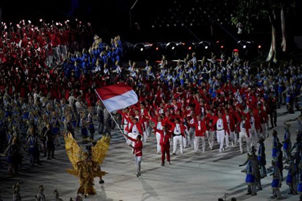 Kontingen Indonesia saat pembukaan Asian Games 2018 di Stadion Utama Gelora Bung Karno, Jakarta, pada Sabtu (18/8/2018). - Antara