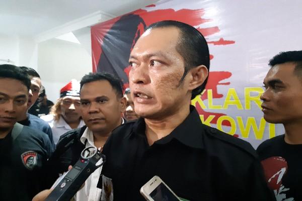 Koordinator Presidium Nasional GNR Dondi Rivaldi saat memberikan keterangan kepada pers di Jakarta, Kamis (23/8/2018).Bisnis.com - Samdysara Saragih