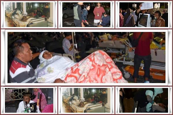 Situasi penanganan korban gempa Lombok, NTB pada Minggu (5/8/2018) - Antara/Bisnis/Ni Putu Eka Wiratmini