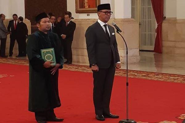 Agus Gumiwang Kartasasmita menjalani gladi resik pelantikan sebagai Menteri Sosial yang baru menggantikan Idrus Marham di Istana Negara, Jumat (24/8)./JIBI/BISNIS - Yodie Herdiyan