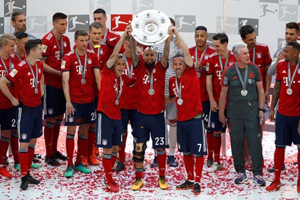 Bayern Munchen juara Bundesliga 2017-2018. - Reuters/Michaela Rehle