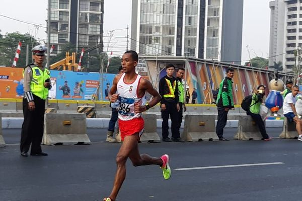 Pelari Indonesia Agus Prayogo, yang turun di nomor maraton dalam Asian Games 2018, gagal menyumbangkan medali dalam laga yang berlangsung pada Sabtu (25/8). - Bisnis/Nur Faizah Al Bahriyatul Baqiroh