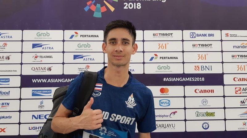 Pelari Thailand Payne Tony Ah Thit, salah satu atlet yang berlaga dalam nomor lari maraton putra dalam Asian Games 2018, Sabtu (25/8). - Bisnis/Nur Faizah Al Bahriyatul Baqiroh