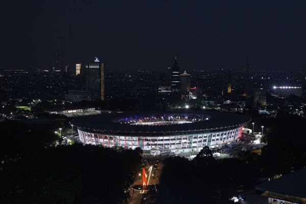 Suasana Gelora Bung Karno menjelang pembukaan Asian Games 2018 di Jakarta, Sabtu (18/8).JIBI/Bisnis - Abdullah Azzam