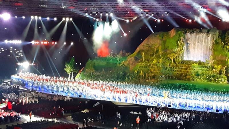 Suasana pembukaan Asian Games 2018 di Gelora Bung karno Jakarta, Sabtu (18/8/2018) - Nur  Faizah Al Bahriyatul Baqiroh