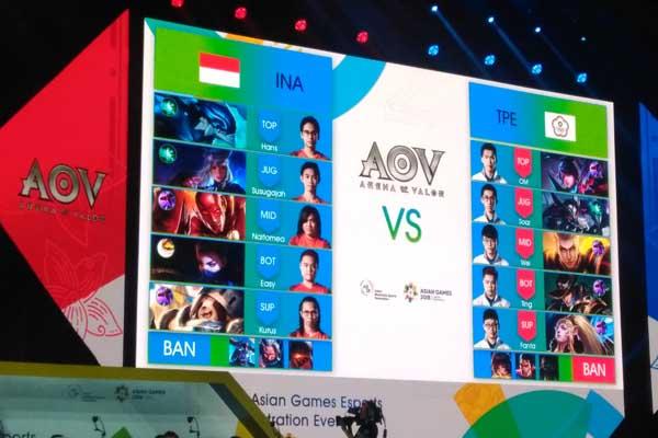 Pertandingan cabang olahraga eSport Arena of Valor (AoV) antara Indonesia vs China Taipe Minggu 26 Agustus 2018. Indonesia kalah 0-2 dan akan bertemu tim Thailand. - Bisnis/Adam Rumansyah.