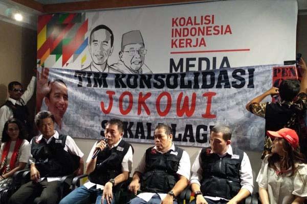 Tim Konsolidasi 'Jokowi Sekali Lagi' saat di Media Center Cemara, Jakarta, Senin 27 Agustus 2018. - Bisnis/Muhammad Ridwan