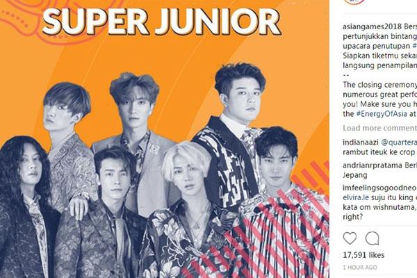 Super Junior siap tampil di upacara penutupan Asian Games 2018 di Palembang - Instagram
