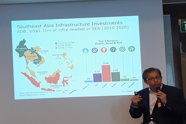 Country Head of Deloitte Infrastructure & Capital Projects Bernardus R. Djonoputro memaparkan investasi infrastruktur pada konferensi pers Indonesia Infrastructure CEO Forum 2018 di Jakarta, Rabu (29/8/2018) - Rivki Maulana
