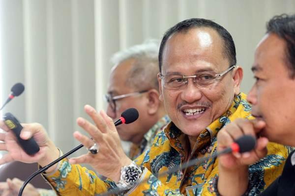 Presiden Direktur PT Wijaya Karya Bangunan Gedung Tbk (WEGE) Nariman Prasetyo memberikan penjelasan mengenai kinerja perusahaan saat berkunjung ke kantor redaksi Bisnis Indonesia Tbk di Jakarta, Rabu (29/8/2018)./JIBI/Bisnis - Dedi Gunawan