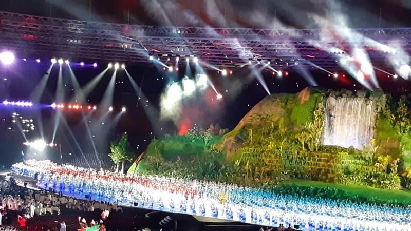 Susana pembukaan Asian Games 2018 di Gelora Bung Karno Jakarta, Sabtu (18/8/2018) - Nur  Faizah Al Bahriyatul Baqiroh