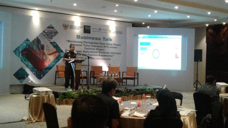 Bussines Talk DJBC dan LPEI bersama eksportir KTI di Hotel Four Points by Sheraton Makassar, Makassar, Sulawesi Selatan, Kamis (30/8). - Bisnis/Andini Ristyaningrum.