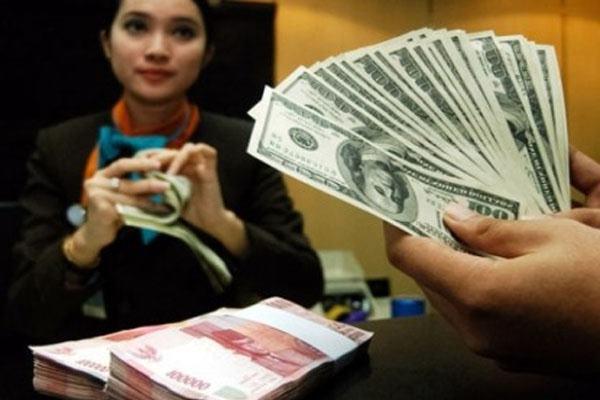 Ilustrasi seorang pegawai bank tengah menghitung penukaran uang rupiah dengan dolar AS - Bisnis.com