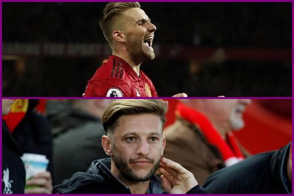 Bek Manchester United Luke Shaw (atas) dan gelandang Liverpool Adam Lallana - Reuters