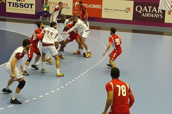 Pertandingan Bola Tangan Asian Games  2018 babak final perebutan emas antara Bahrain vs Qatar Jumat 31 Agustus 2018. - Bisnis/Yusran Yunus