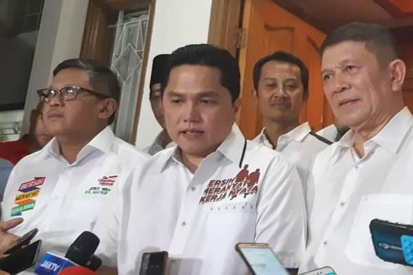 Ketua TKN Jokowi-Ma'ruf, Erick Thohir (tengah)./JIBI/BISNIS - Muhammad Ridwan