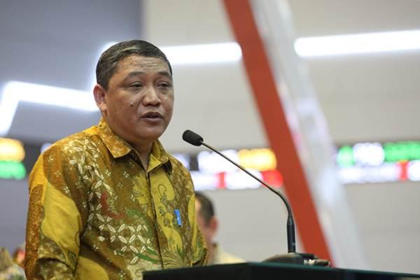 Doso Agung, saat masih menjadi Direktur Utama PT Pelindo IV menyampaikan sambutan pada penerbitan Obligasi I sebesar Rp3 tiliun, di Jakarta, Kamis (5/7/2018). - JIBI/Dedi Gunawan