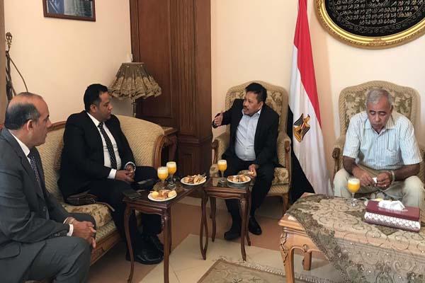 . Kepala BP Batam saat berbincang dengan Jenderal Angkatan Laut Ahmed Aribi, General Manager Pajak dan Cukai, Ahmed Mahmaout dan Kepala Hubungan Luar Negeri, Khalid Tuha di kantor SCA Suez Canal Authority, Mesir - Istimewa