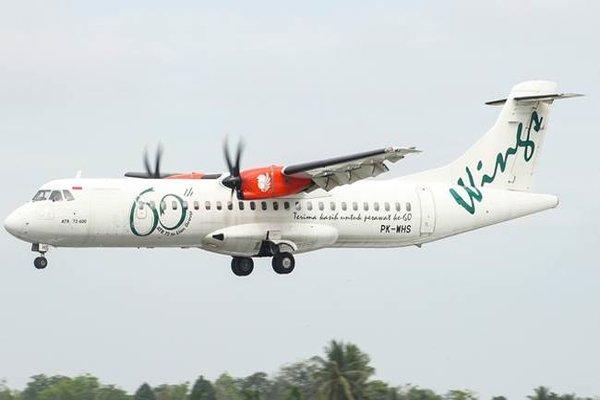 Pesawat ATR72/600 registrasi PK/WHS yang digunakan Wings Air untuk rute penerbangan Semarang/Karimunjawa.