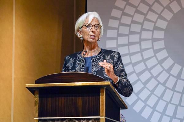 Managing Director IMF Christine Lagarde menyampaikan pandangannya saat Trade Conference Session 1: Introductory Remarks pada rangkaian Pertemuan Tahunan IMF - World Bank Group 2018 di Laguna, Nusa Dua, Bali, Rabu (10/10/2018). - ANTARA/Jefri Tarigan