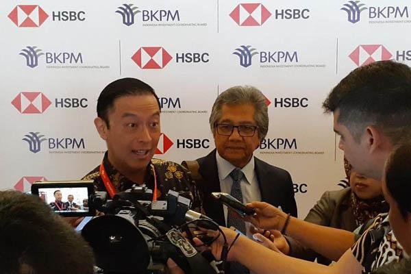 Kepala Badan Koordinasi Penanamam Modal (BKPM) Thomas Trikasih Lembong (kiri) di sela-sela acara Forum Infrastruktur di Pertemuan Tahunan IMF-World Bank Group, Kamis (11/10/2018). - Bisnis/Ema Sukarelawanto