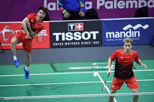 Pasangan ganda putra Indonesia Kevin Sanjaya/Marcus Gideon. - JIBI/Dwi Prasetya