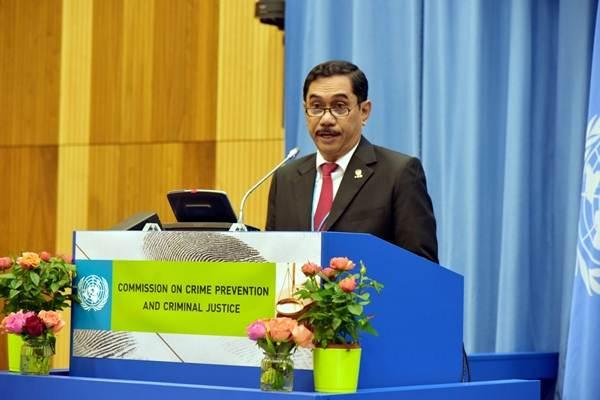 Kepala BNPT Komjen Suhardi Alius saat memberikan pernyataan di pertemuan CCPCJ di Wina, Austria, Senin (14/5/2018) - Dok. KBRI Wina
