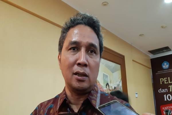 Dirjen Kebudayaan Kemendikbud Hilmar Farid usai menghadiri acara peluncuran 10 seri buku berjudul