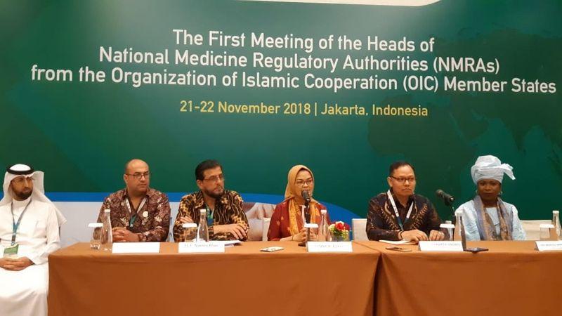 Kepala Badan Pengawas Obat dan Makanan (BPOM) RI Penny K. Lukito (ketiga dari kanan) bersama sejumlah kepala delegasi regulator obat negara anggota Organisasi Kerja Sama Islam (OKI) dalam konferensi pers di Jakarta, Kamis (22/11/2018). - Bisnis/Iim Fathimah Timorria