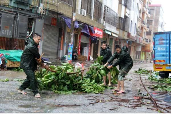 Ilustrasi/Warga membersihan kota dari pohon tumbang akibat topan.
