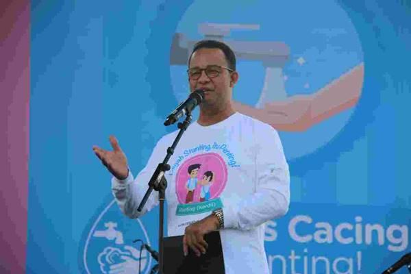 Gubernur DKI Anies Baswedan memberi sambutan dalam Deklarasi Komitmen dan Kampanye Nasional Pencegahan Stunting di Silang Monas Sisi Barat, Jakarta Pusat, Minggu (16/9). - Dok. Humas Pemprov DKI