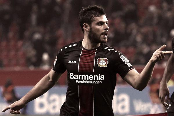 Ujung tombak Bayer 04 Leverkusen Kevin Volland selepas menjebol gawang Stuttagrt. - Twitter@Bayer04