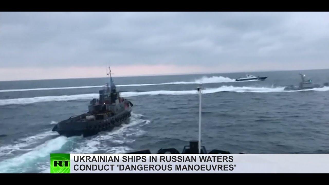 Drama pencegatan kapal Ukraina di Krimea diposting oleh RT.com di Youtube.