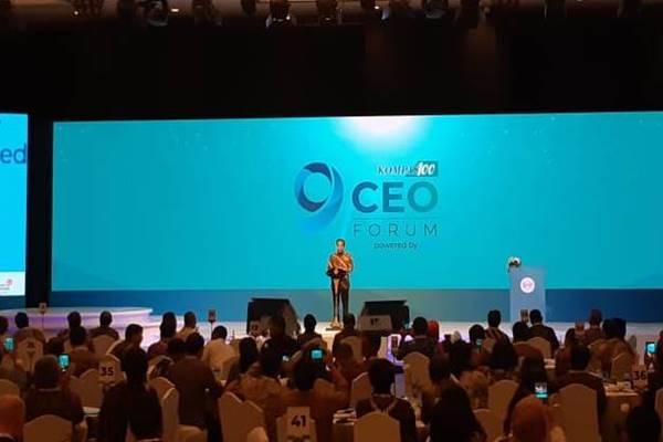 Presiden Joko Widodo berpidati dalam acara 'Kompas100 CEO Forum Tahun 2018', Selasa (27/11). JIBI/BISNIS - Amanda Kusumawardhani