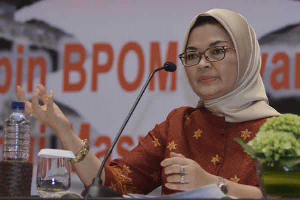 Kepala Badan Pengawas Obat dan Makanan (BPOM) Penny K. Lukito menyampaikan arahan saat kegiatan Rapat Evaluasi Nasional BPOM 2018 di Legian, Badung, Bali, Selasa (27/11/2018). Kegiatan tersebut digelar untuk mengevaluasi pelaksanaan Rencana Strategis BPOM 2015-2019 di tahun 2018 serta membahas berbagai permasalahan terkait pengawasan obat dan makanan.  - Antara/Fikri Yusuf