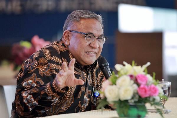 Direktur Utama PT Surveyor Indonesia (Persero) Dian M. Noer memberikan paparan saat konferensi pers, di Jakarta, Jumat (19/10/2018). - JIBI/Dwi Prasetya