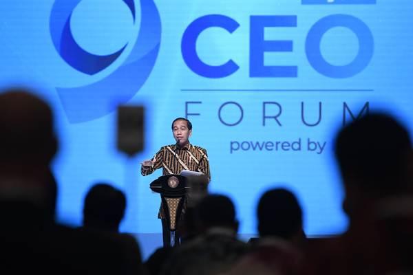 Presiden Joko Widodo menyampaikan sambutan pada Pembukaan Kompas100 CEO Forum Tahun 2018 di Jakarta, Selasa (27/11/2018). - ANTARA/Puspa Perwitasari
