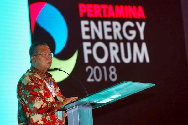 Menko Perekonomian Darmin Nasution memberikan sambutan saat pembukaan Pertamina Energy Forum (PEF) 2018 di Jakarta, Rabu (28/11/2018). - JIBI/Abdullah Azzam