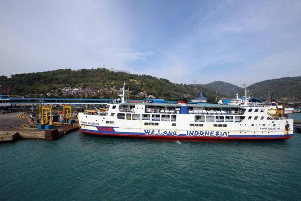 Pelabuhan penyeberangan Merak di Kota Celegon, Provinsi Banten. - Bisnis/Abdullah Azzam