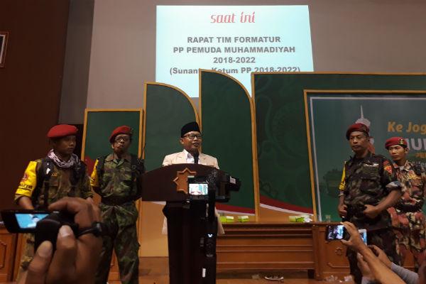 Sunanto memberikan sambutan setelah terpilih secara resmi menjadi Ketua Umum Pemuda Muhammadiyah di Sportorium UMY, Rabu malam (28/11/2018). - Harian Jogja/Rahmat Jiwandono