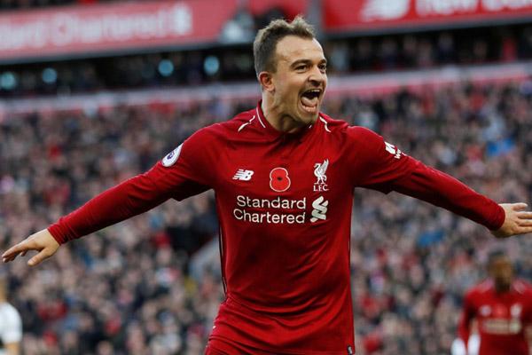 Pemain sayap Liverpool Xherdan Shaqiri - Reuters/Russell Cheyne
