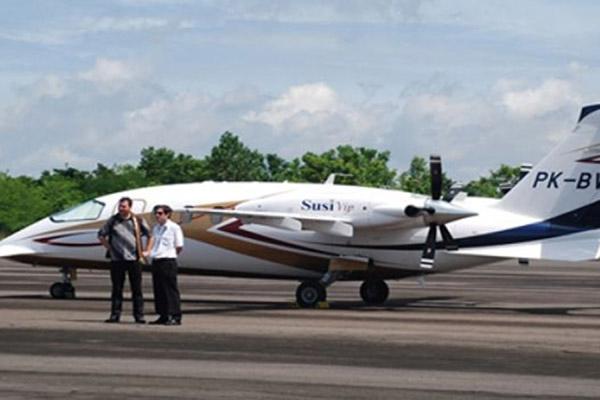 Pesawat Susi Air di Lanudad Gatot Subroto di Way Kanan, Provinsi Lampung. - Antara