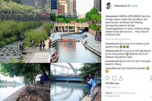 Gubernur Jabar Ridwan Kamil mengunggah foto Sungai Kalimalang di Kota Bekasi dan Sungai Cheonggyecheon di Kota Seoul Korea Selatan. - Instagram@ridwankamil