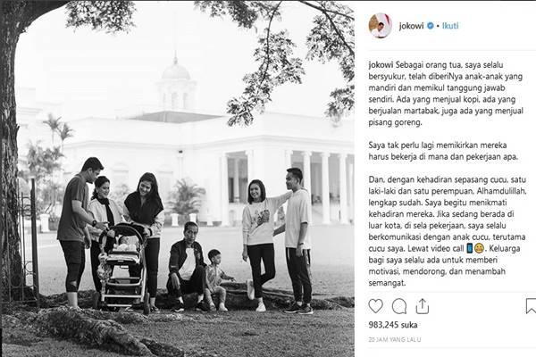 Presiden Joko Widodo bersama anak, mantu, dan cucu di Bogor, Sabtu (8/12). - Instagram@jokowi