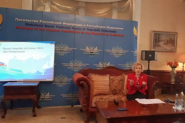 Dubes Rusia untuk Indonesia Lyudmila Vorobieva saat menggelar konferensi pers di Jakarta, Selasa (18/12/2018). - Bisnis/Iim Fathimah Timorria