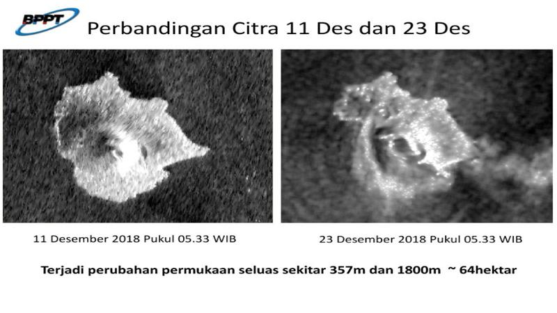 Longsor di kaki Anak Krakatau di bawah permukaan laut menyebabkan deformasi atau perubahan seluas 64 hektare dengan lebar 357 meter dan panjang 1.800 meter di gunung itu. Longsor itulah yang menjadi sebagai pemicu Tsunami Selat Sunda pada Sabtu malam (22/12 - 2018). Foto: @PTPSW_BPPT
