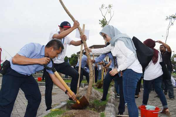 Pengurus dan Anggota Forum Humas Badan Usaha Milik Negara (BUMN) menanam pohon Tabebuya di kawasan Gelanggang Olah Raga (GOR) Wilis Kota Madiun, Jawa Timur, Kamis (29/11/2018). - Antara/Siswowidodo